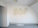 general view of site specific installation paper, linseed oil, white wool thread, chalk, aproximately 1.60m x 0.80 cm