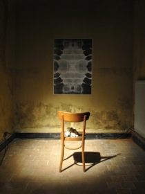 second-hand chair, 60 clays cast of inside of mouth, B/W digital print glued onto wall (0.80 x 1.20m)