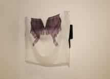 'Horizon', B/W print on silk, 50 x 60 cm, mounted on steel set for hanging television set
